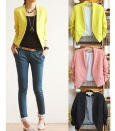 2013 New S M L Korea Women Candy Color Solid Slim Fold Sleeve Suit Jacket Blazer Coats Free Sipping $15.99