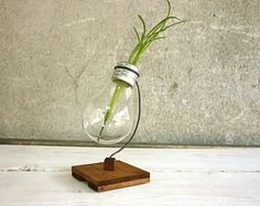 Bulb vase alpha - recycled light bulb vase wooden stand upcycled holder for flowers from metal and wood and lightbulb Paladim Handmade