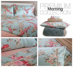 Premium Collection, Design:Morning 100% βαμβακοσατέν - 200 κλωστές. Σετ σεντόνια, σετ παπλωματοθήκη και πάπλωμα υπέρδιπλο.