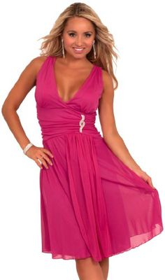 Hot from Hollywood Women's Sleeveless V Neck Rhinestone Sheer Layer Dress - Listing price: $69.99 Now: $39.99