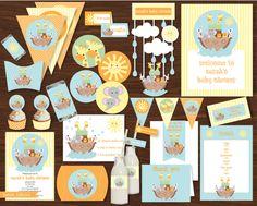 Noah& Ark Baby Shower Printable Kit by CreativeLittleStars Baby Shower Printables, Baby Shower Themes, Baby Boy Shower, Baby Shower Invitations, Shower Ideas, Baby Showers, Baby Theme, Safari Theme, Party Printables