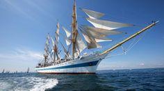 Скачать обои море, фрегат, корабль, паруса, парусник, судно, раздел разное в разрешении 1366x768