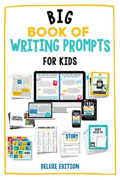 Ensure your young students are fully armed and ready for any writing project with these creativity-inducing writing prompts. You'll LOVE the Big Book of Writing Prompts Bundle if: ✅ You teach kids who get frustrated when they try to write ✅ You don't want to spend hours coming up with your own writing prompts ✅ You're looking for tons of new ways to inspire your young writers Both the Basic and Deluxe Editions come with lots of bonus materials to make writing time even better! High School Writing Prompts, Creative Writing Classes, Creative Writing Prompts, Writing Assignments, Cool Writing, Writing Lessons, Writing Poetry, Writing Skills, Writing A Book