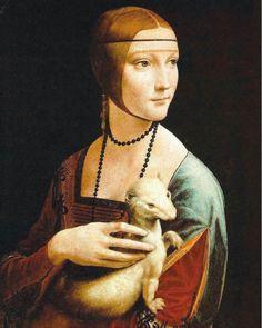 Gênero menor: retrato.  Dama com um arminho (1485 - 1490). De Leonardo da Vinci. Possui um rosto tranquilo, insinuando o início de um sorriso sereno. O arminho repete-lhe o movimento dá cabeça, cuja pata curvada elegantemente corresponde ao movimento do animal, criando uma sintonia entre a modelo e ele.