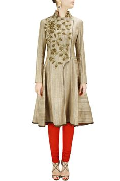 Beige french knot embroidered wrap jacket BY SAMANT CHAUHAN. shop now at http://www.perniaspopupshop.com/whats-new #designer #fashion #style #beautiful #newcollection #updates #perniaspopupshop #happyshopping