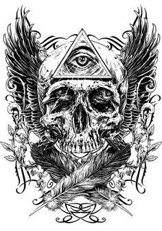Skull by Rafal Wechterowicz, via Behance Kunst Tattoos, Skull Tattoos, Tattoo Drawings, Body Art Tattoos, Sleeve Tattoos, Piercing Tattoo, Satanic Art, Geniale Tattoos, Black And White Illustration
