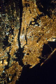 New York City at night. Image Credit: NASA