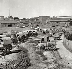 Wagon train moving out of Atlanta, Georgia. 1864
