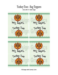 "DIGITAL Thanksgiving treat bag toppers / labels.  ""Turkey Toes"".  Great as a treat for school kids, parties, and as favors."