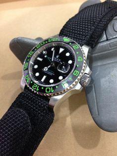 Rolex Green GMT-116710 on 20mm MiLTAT Honeycomb Black Nylon Velcro Fastener Watch Strap, PVD Black Buckle [20B20DBR01N9A15]