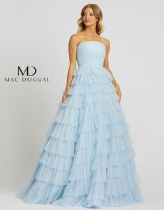 Ball Gowns by Mac Duggal Come Take a Look and See What You Love! Long Sleeve Evening Gowns, Blue Ball Gowns, Pretty Prom Dresses, Mac Duggal, Online Dress Shopping, Shopping Sites, Gowns With Sleeves, Tiered Skirts, Celebrity Dresses