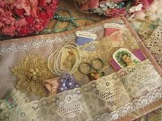 Threads, lace, scissors, etc.