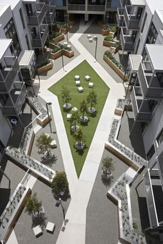 Residential Courtyard. Really cool use of public/ private edges.: