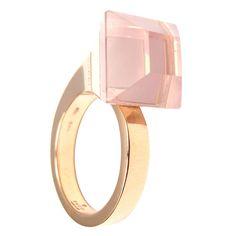 Gucci Pink Quartz French Horn Rose Gold Band Ring | 1stdibs.com