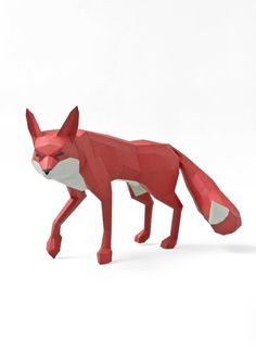 roter Fuchs 3D Papier Bastelset - red fox low poly Papercraft