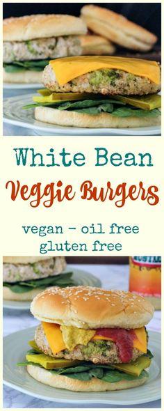White Bean Veggie Burgers @spabettie #vegan #oilfree #glutenfree #gameday