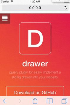 Drawer - jQuery plugin for displaying menu using CSS animations