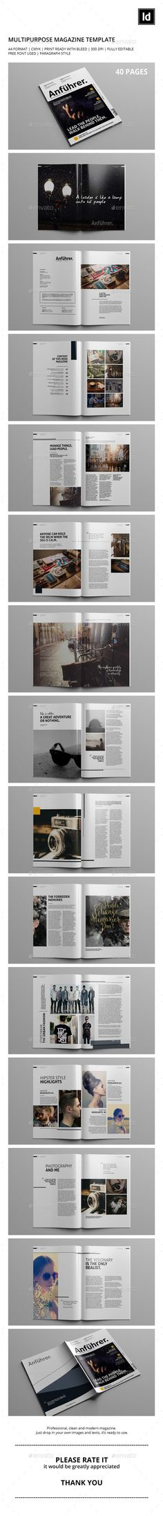 40 Pages | Multipurpose Magazine Template — InDesign INDD #a4 #magazine • Available here → https://graphicriver.net/item/40-pages-multipurpose-magazine-template/10469913?ref=pxcr