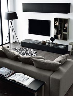 More monochrome interior inspiration here - http://dropdeadgorgeousdaily.com/2014/02/get-look-charlie-brown-monochrome-pad/ #InteriorDesignLivingroom