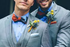 Two bowties, two boutonnieres, two suits, two grooms. One wedding.