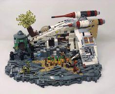 Republic Gunship Jedi Hideout after Order 66 - Lego Film Star Wars, Star Wars Poster, Star Wars Art, Lego Star Wars, Star Wars Clone Wars, Star Trek, Lego Minecraft, Lego Disney, Star Citizen