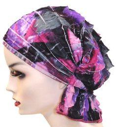 Turban Plus Abbey Cap in Ruffle Purple Geo Turban Plus. $24.99