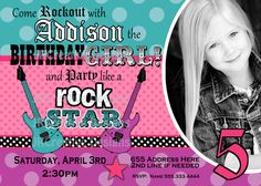 Rock Star Invite Girl Rockstar Invite Rocker by JRCreativeDesigns, $17.99