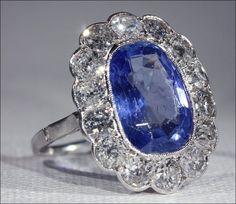 Antique French Belle Époque Diamond and Sapphire Ring, Shop Rubylane.com