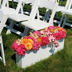 White Ceremony Flower Box. Tip: have enough boxes for the aisle to place in front of the band stage for an amazing double duty look.