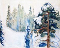 Edvard Munch, Winter Landscape, Elgersberg Art Print by Asar Studios - X-Small Edvard Munch, Famous Landscape Paintings, Alex Colville, Berenice Abbott, Cicely Mary Barker, Cat Stevens, Winter Painting, Arte Popular, Ansel Adams