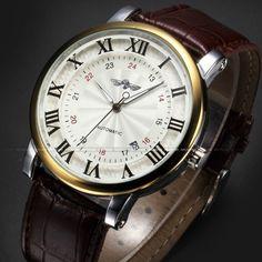 Rome Number Fashion Men WINNER Top Brand Gold Sport Wristwatches Self wind Automatic Mechanical Calendar Leather Watch Clock #shoes, #jewelry, #women, #men, #hats
