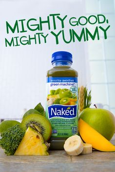 The Mighty Good Naked Juice Green Machine smoothie knows eating well can be a lot of work. That's why it's gone ahead and done it all for you. We blend up apple, mango, pineapple, banana, kiwi, and 10 nutritious boosts.