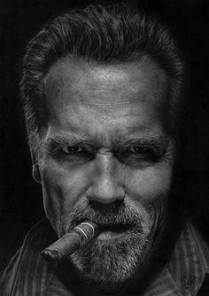 Arnold Schwarzenegger EscapePlan By Bazoli - The MAN Arnold Schwarzenegger, Black And White Portraits, Black And White Pictures, Pencil Portrait, Portrait Art, Dark Photography, Portrait Photography, Caricature, Social Trends