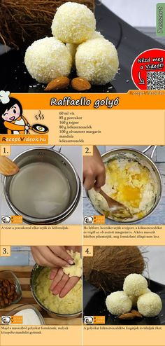 Raffaello balls is a famous and fantastic recipe! It's perfect if you're expecting guests, or as a gift! You can easily find the Raffaello Balls recipe by scanning the QR code in the top right corner! :) Raffaello balls is a famous and fantastic rec Dessert Cake Recipes, Easy Desserts, Cookie Recipes, Flake Recipes, Food Porn, Hungarian Recipes, Balls Recipe, Snacks, Winter Food