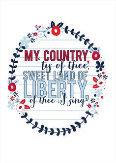 My Country 'Tis of Thee Print {free printable} - Kiki & Company