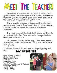 cute meet the teacher page!