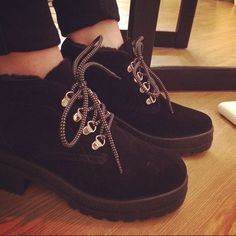 schuh Hitch Hike black lace up ankle boots @kathygee23