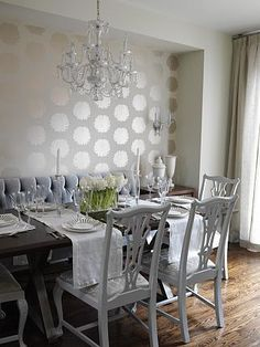 Dining Room | Sarah Richardson Design. OMGosh ! Beautiful metallic wallpaper!!!