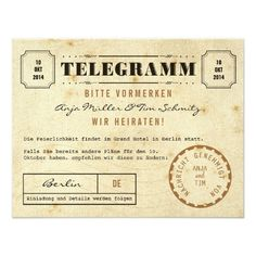Vintage Telegramm Save the Date