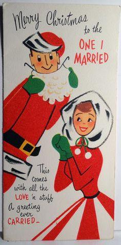 Vintage christmas card snowman and snow lady hallmark blue mid gibson husband wife vintage christmas card m4hsunfo