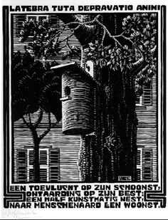 "M. C. Escher- XXIV Emblemata- ""XXII, Retreat""- Between March and June 1931, Woodcut***"