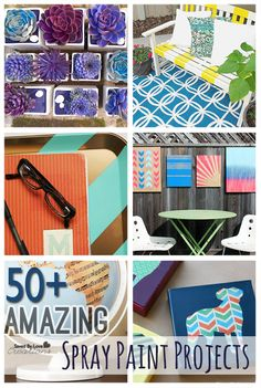 Over 50 Amazing DIY Spray Paint Projects to Make @savedbyloves | Love that striped bench.