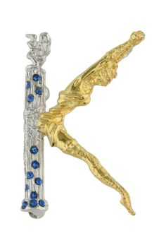 Erte Letter K Pendant Brooch Gold Plated Sterling Silver With Hand Set Swarovski Crystals  PinHome #Jewelry