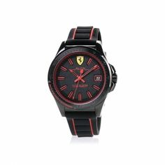 A silicone strap watch with a sporting spirit that is seen in the details inspired by the design of the Ferrari single-seater cars: for true connoisseurs. Red Watches, Watches For Men, Ferrari Watch, Quartz Watch, Chronograph, Omega Watch, Spirit, Cars, Inspired