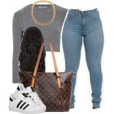 A fashion look from September 2015 by trillest-queen featuring Glamorous, adidas Originals and Louis Vuitton