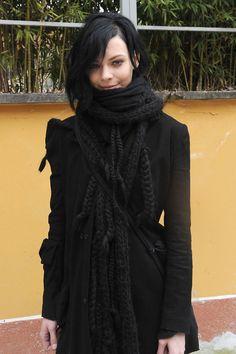 black on black, huge scarft