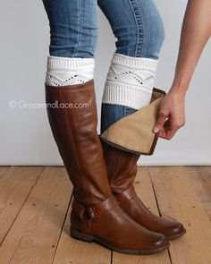 {Cable Knit Boot Cuffs} - in OFF WHITE <<<READY TO SHIP>>> Boot Cuffs are  your boots favorite accessory! This soft, stretchy cuff looks like