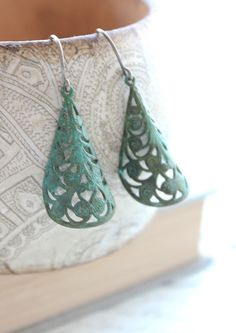 Verdigris Filigree Earrings Jade Green Patina by apocketofposies