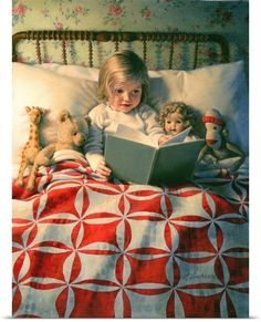 """Old children's book illustration.""""Story Time """" by Kathy Lawrence. Reading Art, Kids Reading, Bedtime Reading, Reading Books, Photo Canvas, Children's Book Illustration, I Love Books, Story Time, Vintage Children"""