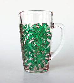 Monstera Mug Tropical Mug Green Leaves Mug by Simple Magic Things Simple Magic, Easy Magic, Cup Design, Glass Design, Tea Mugs, Coffee Mugs, Tropical Mugs, Glass Paint, Stained Glass Lamps